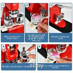 1000pcs Button Pin Maker Machine 5.8cm Badge Punch Press Making + Circle Cutter