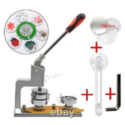 1''/1.25'' Badge Press Making Machine Button Pin Maker +300 Parts +Circle Cutter