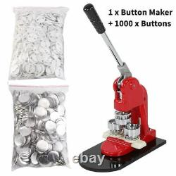 1/25mm Button Maker Machine Badge Punch Press +1000x Parts Circle Cutter Tools