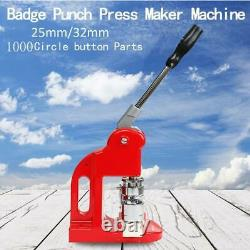 25MM/32MM Badge Punch Press Maker Machine With 1000 Button Parts+Circle Cutter