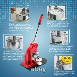 25/32/58mm Button Badge Maker Machine Punch Press With Dies Cutter Steel Handle