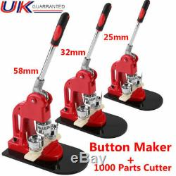 25/32/58mm Button Maker Badge Punch Hand Press Machine+1000 Parts Circle Cutter