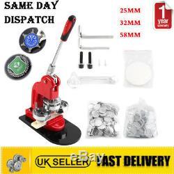 25/32/58mm Button Maker Badge Punch Press Machine+1000 Parts Cutter Medal DIY