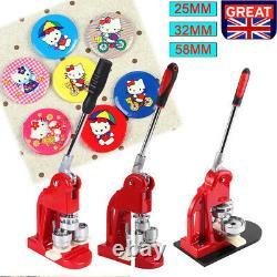 25mm/32mm/58mm Badge Maker Machine Button Badges Press & Cutter Kit +1000 Parts