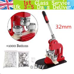 25mm Button Badge Maker Machine Press Punch Button 1000 Parts + Circle + Cutter