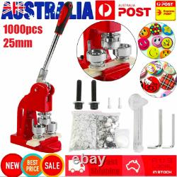 25mm Button Maker Badge Press Machine Kit Circle Cutter With1000× Buttons &3 Dies