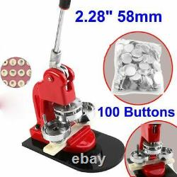 2.28 58mm Button Maker Machine Badge Punch Press 100 Parts Circle Cutter Tool