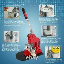 32MM Badge Maker Machine Making Pin Button Press Cutter with1000 Buttons 3 Dies
