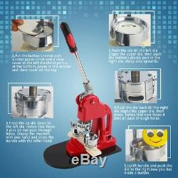 32MM Badge Punch Press Pin Maker Machine With 1000 Button Parts + Circle Cutter