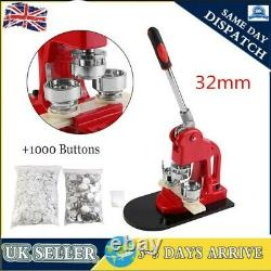 32mm Badge Button Maker Punch Press Making Machine 1000 Parts with Circle Cutter