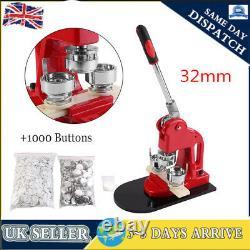 32mm Button Maker Badge Punch Press Machine + 1000 Parts Circle Cutter UK