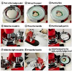 58mm 2.28 Button Badge Maker Punch Press Machine Circle Cutter 500Pcs Buttons
