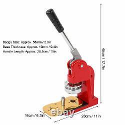 58mm Badge Button Maker Punch Pin Press Making Machine 500 Parts+Circle Cutter