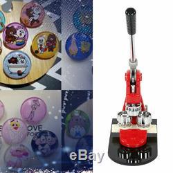 58mm Button Badge Maker Machine Punch Press + 1000 Parts + Dies + Cutter Red