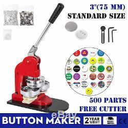 75mm(3) Button Badge Maker press 500 Pcs Bags Circle Cutter 200-300pcs/H NEWEST