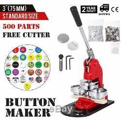 75mm(3) Button Badge Maker press 500 Pcs Metal Slide Punch Press Circle Cutter