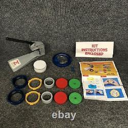Badge-A-Minit 2 1/4 Button Maker With Bench Press, Circle Cutter & 2 Ring Sets ++