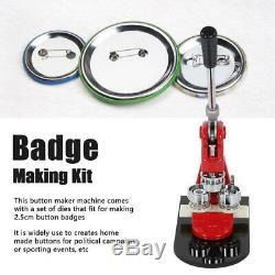 Badge Maker Machine Making Pin Button Punch Press 25mm +Cutter 1000 Buttons