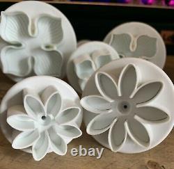 Cake Icing Fondant set of 2 Daisy Cutters & 3 hydrangea Press Button Cutters