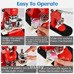 DIY Badge Maker Machine Pin Button Badges Punch Press 25mm 1000 Cutter Kits