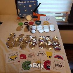 HUGE Badge-A-Minit Badge Maker Press LOT + Button Parts & Fiskars Circle Cutter