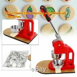 Neu Button Maker Abzeichen Punch Press Mashine 58mm Cutter mit 100x Materialien